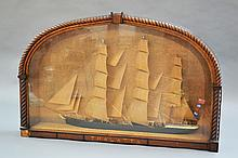 19th century diorama of a sailing ship in a carved