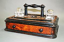 Antique ebonized and walnut partners inkstand,