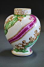 Antique Dresden porcelain baluster vase, decorated