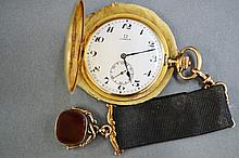 Omega, 18 carat gold cased pocket watch. Case &