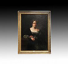 Antique English school, portrait of a lady, oil on