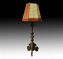 Antique French pricket converted to standard lamp,