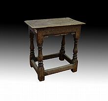 Antique 18th century English oak stool, approx