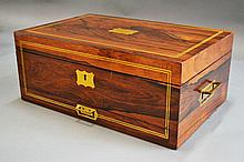 19th century English rosewood work box, fitted