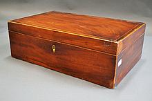 19th century mahogany tea caddy, satinwood banded