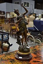 French spelter female figure, signed, approx 46cm H