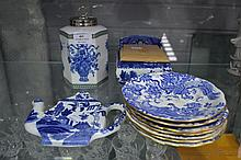 Collection of blue and white china to include ginger jar, salt box, Royal Derby saucers, etc
