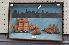 Antique French Ship diorama, approx 36cm x 53cm