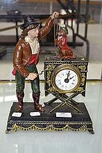 French Organ Grinder and monkey, cold painted Spelter Figural  clock, approx 28cm H