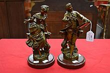 Pair of French spelter gent and lady figures, approx 26cm H each
