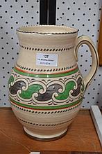 Charlotte Rhead style Crown Ducal jug, approx 22cm H