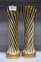 Pair of French WWI brass trench art vases. 28cm