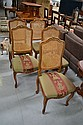 Antique French caned back and upholstered beech
