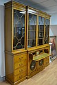 Fine antique English satinwood breakfront library