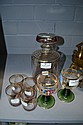 Deco decanter, four matching glasses along with
