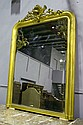 Antique French gilt surround mirror, decorated