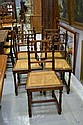 Five antique French Henri II walnut chairs (5)