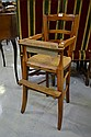 Antique French childs fruitwood high chair