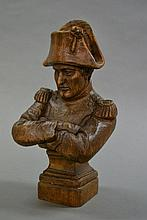 Early French hand carved timber figure of Napoleon