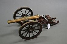 Model muzzle loading cannon in brass with steel