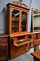 Antique English oak secretaire bookcase, carved in