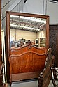 Large antique French inlaid wood framed mirror,