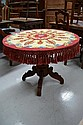 Antique French carved support circular table, the