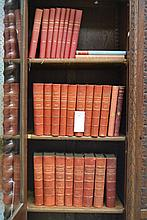 French Illustrated Romans, red leather bound books