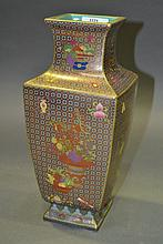 Chinese famille rose gild vase, approx 30cm H
