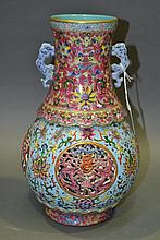 Chinese famille rose core vase, approx 30cm H