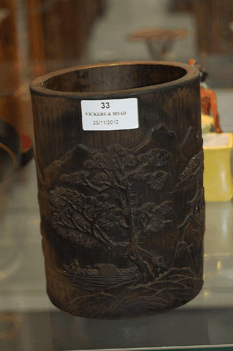 Chinese carved bamboo brush pot, carved in relief
