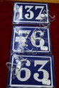 Three French enamel house numbers (3)