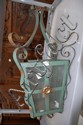 French metal strap work hall lantern, 51 cm H
