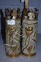 Pair of WWI trench art vases (2)