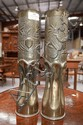Pair of French WWI copper trench art vases ,
