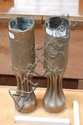 Pair of French trench art brass vases (2)