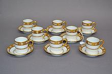 Set of eight Limoges French Napoleon's Bee pattern