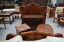 Antique French Louis XV style bed, approx 163cm H x 198cm W