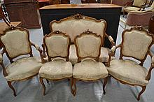 Antique French Louis XV style carved walnut five pieces (5)