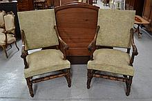 Pair of antique French Henri II armchairs, carved walnut leaf capped arms (2)