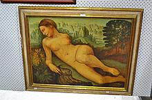 Nude in an Italianate landscape, oil on card, unsigned, approx 59cm x 79cm