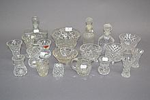 Assortment of glass vases, bowls, decanters and jug