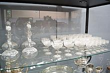 Extensive suite of French lace pattern glasses & decanters