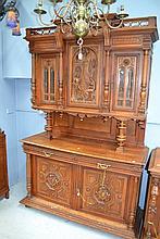 Antique French Henri II carved walnut buffet, approx 236cm H x 148cm W x 55cm D