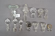 Collection of glass decanter stoppers