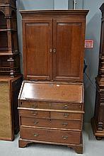 Antique George II English oak country bureau bookcase, approx 204cm H x 95cm W x 52cm D