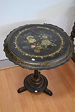 Antique French Papier Mache Napoleon III pedestal table