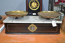 Set of French antique Napoleon III scales, approx 15cm H 43cm W x 17cm D