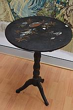 Antique French Napoleon III pedestal table, inlaid with mother of pearl and painted decoration