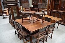 Set of ten antique French Henri II chairs, with leather embossed upholstery with brass studded trim (10)